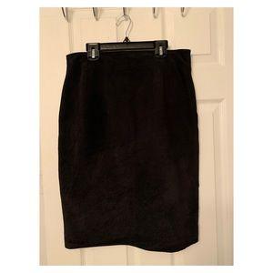Danier Suede Black Leather Skirt